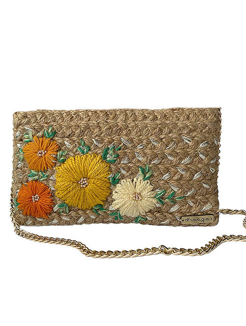 Brown Handcrafted Jute Sling Bag