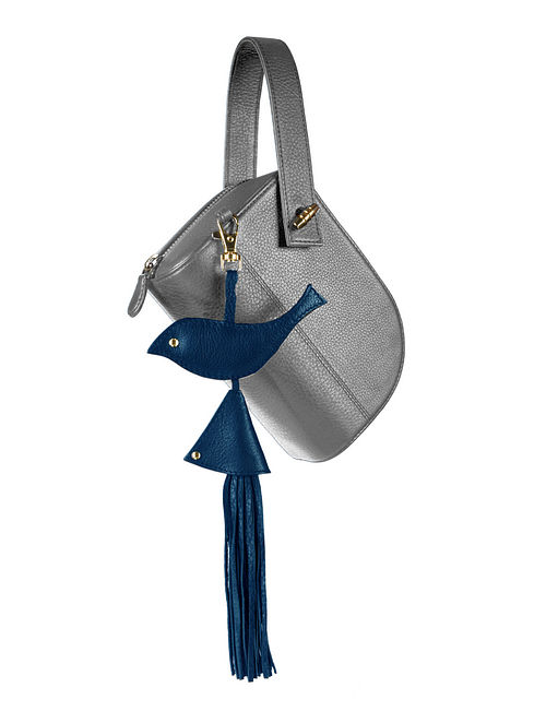 Grey Genuine Leather Sling Bag with Charm