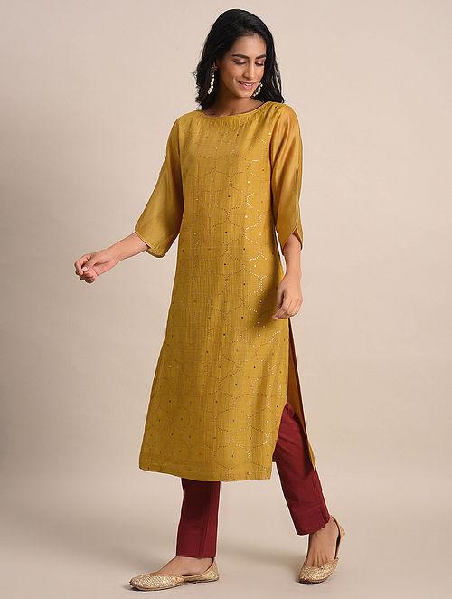 Mustard Mukaish Chanderi Kurta with Cotton Lining