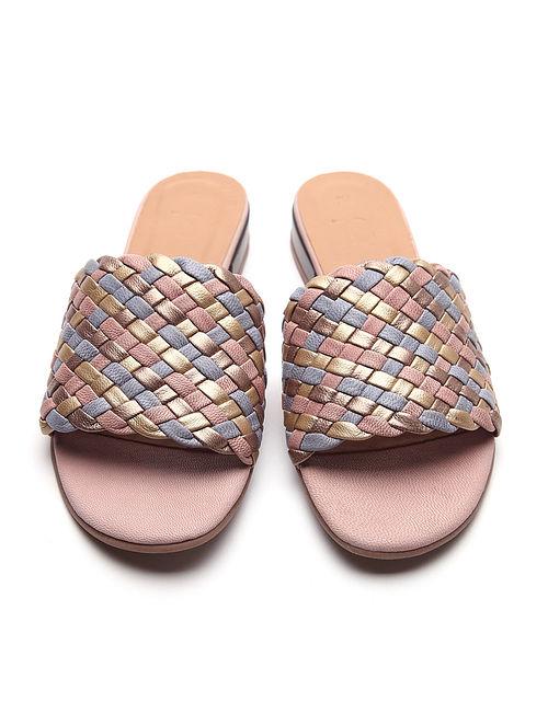 Multicolored Handwoven Genuine Leather Block Heels
