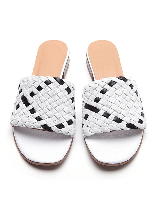 White Black Handwoven Genuine Leather Block Heels
