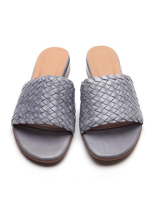 Grey Handwoven Genuine Leather Block Heels