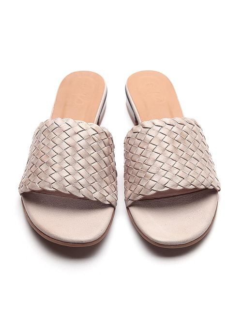 Off White Handwoven Genuine Leather Block Heels