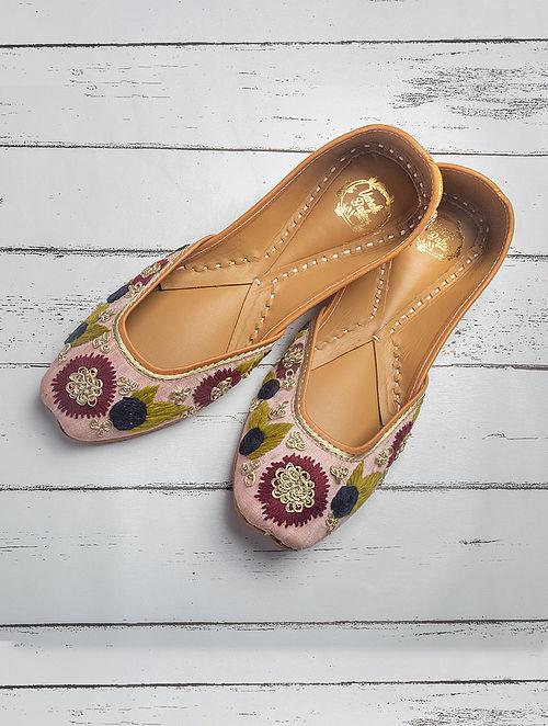 Pink Handcrafted Raw Silk Juttis
