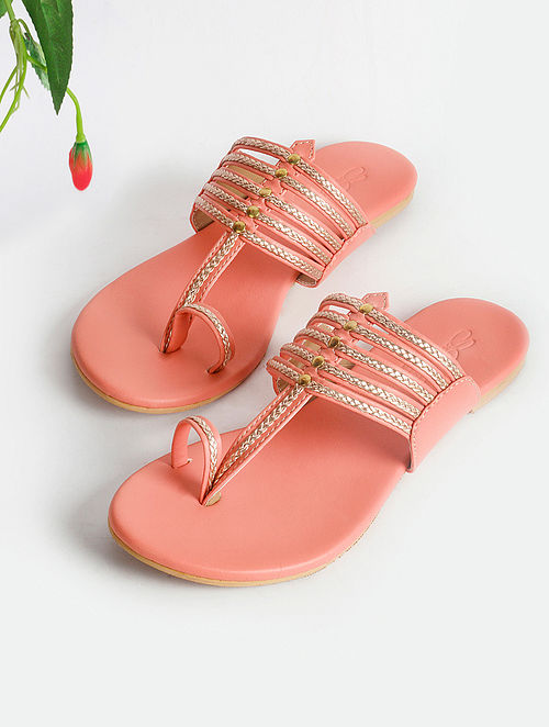 Peach Handcrafted Faux Leather Kolhapuri Flats