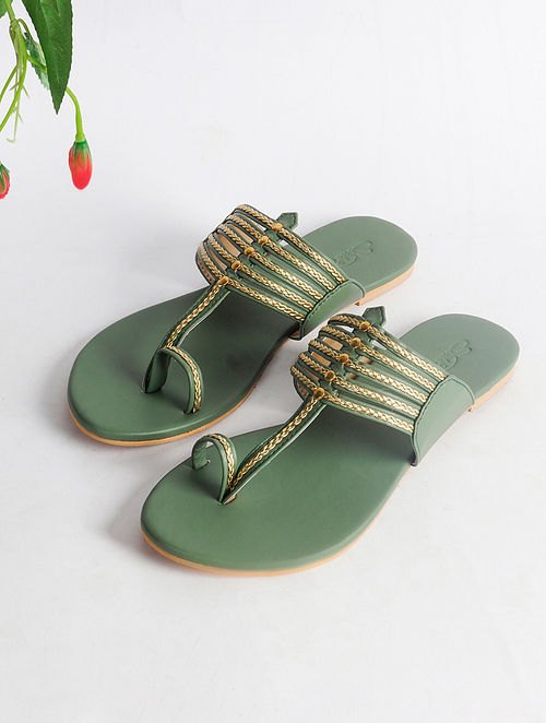 Olive Green Handcrafted Faux Leather Kolhapuri Flats
