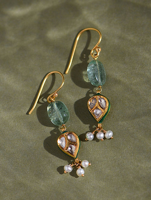 Gold And Diamond Polki Earrings With Emeralds And Pearls