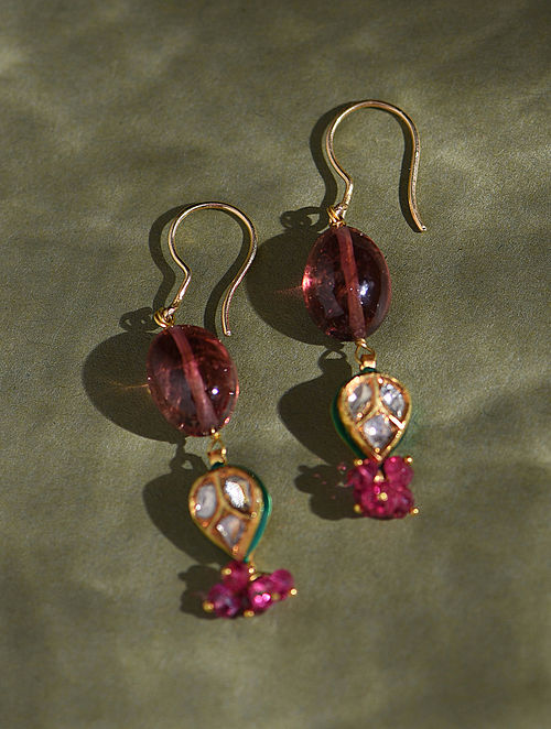 Gold And Diamond Polki Earrings With Ruby And Tourmaline