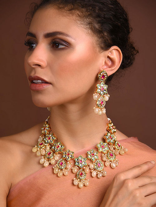 Red Green Gold Tone Kundan Necklace With Earrings