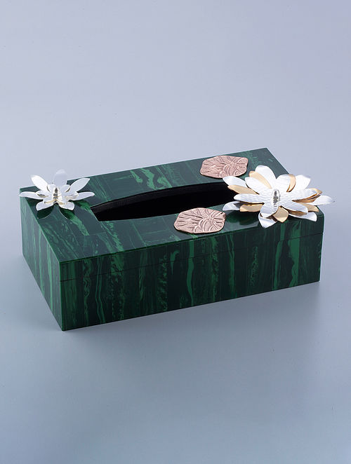 Flower Silver Plated Brass and Compressed Stone Tissue Box (L - 9.5in, W - 5.5in, H - 3.25in)