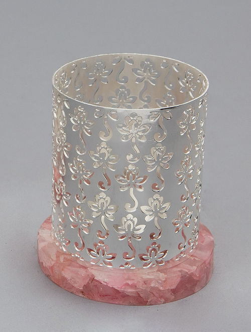 Lotus Silver Plated Brass and Rose Quartz Stone T-Light Holder (Dia - 3in, H - 3.5in)
