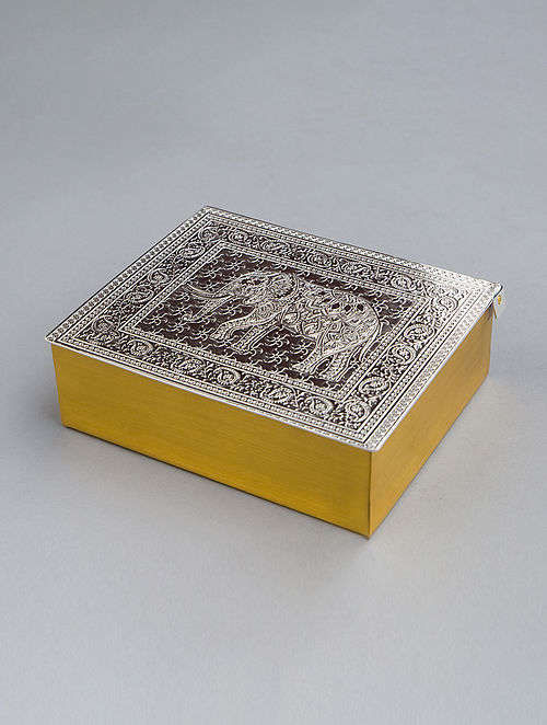 Elephant Box Silver Plated Brass Box (L - 5in, W - 4.25in, H - 1.75in)
