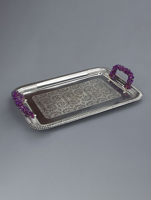 Silver Plated Steel and Amethyst Stone Tray (L - 15.75in, W - 8.5in, H - 1.5in)