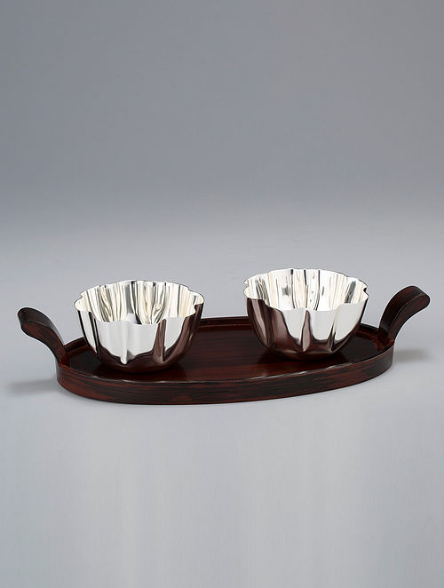 Wave Silver Plated Brass and Wood Tray (L - 12in, W - 5.75in, H - 2.25in)