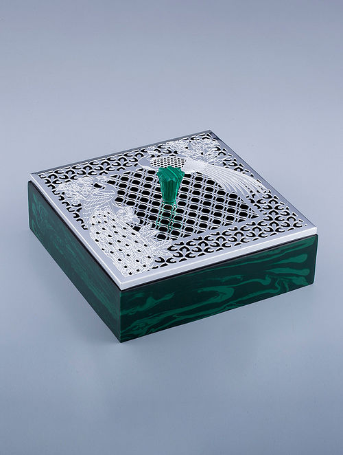 Peacock Silver Plated Brass and Compressed Stone Box (L - 7in, W - 7in, H - 3in)