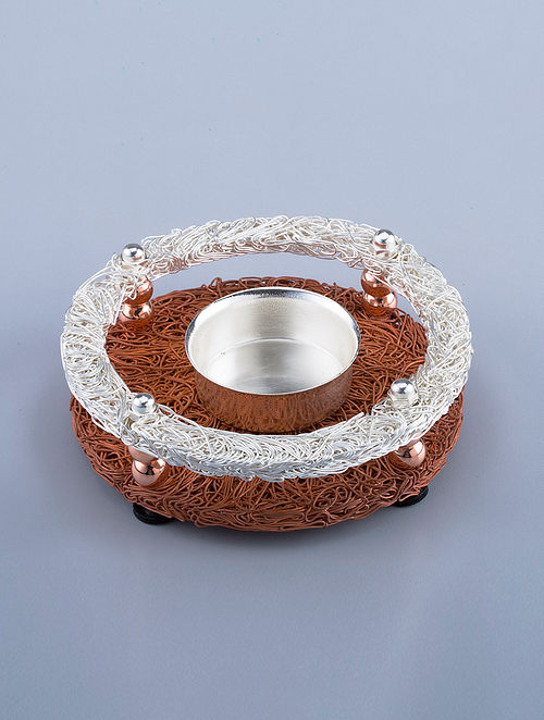 Wire Mesh Silver Plated Brass T-Light Holder (Dia - 4in, H - 1.5in)