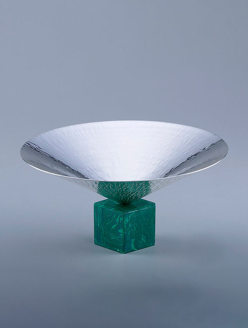 Cone Silver Plated Hammered Brass and Compressed Stone Bowl (Dia - 7in, H - 4in)
