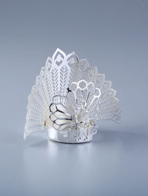 Peacock Silver Plated Brass T-Light Holder (L - 3in, W - 2in, H - 3in)