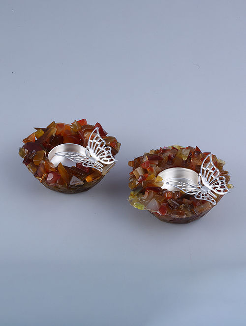Butterfly Silver Plated Brass and Coraline Stone T-Light Holders (Set of 2) (Dia - 4.25in, H - 1.5in)