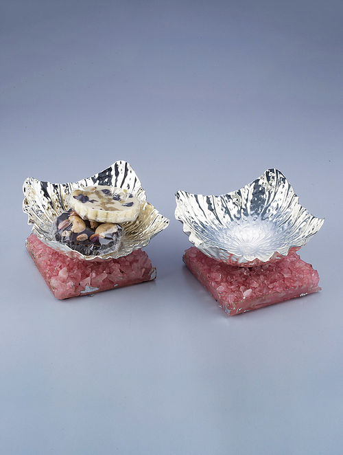 Lotus Silver Plated Brass and Rose Quartz Stone Bowls (Set of 2) (L - 4.5in, W - 4.5in, H - 2.5in)