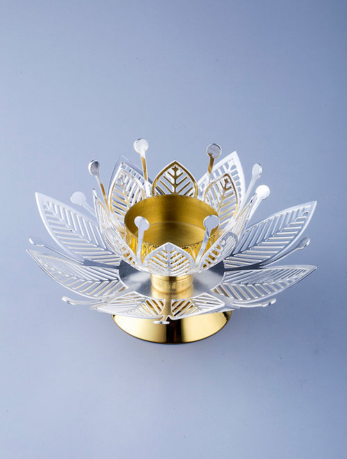 Flower Golden Silver Plated Brass T-Light Holder (L - 5.5in, W - 5.5in, H - 2.25in)