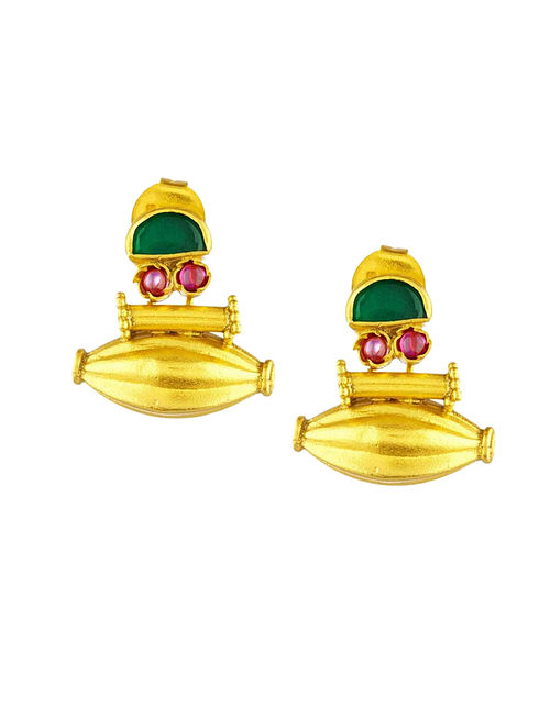 Green Gold Plated Sterling Silver Earrings