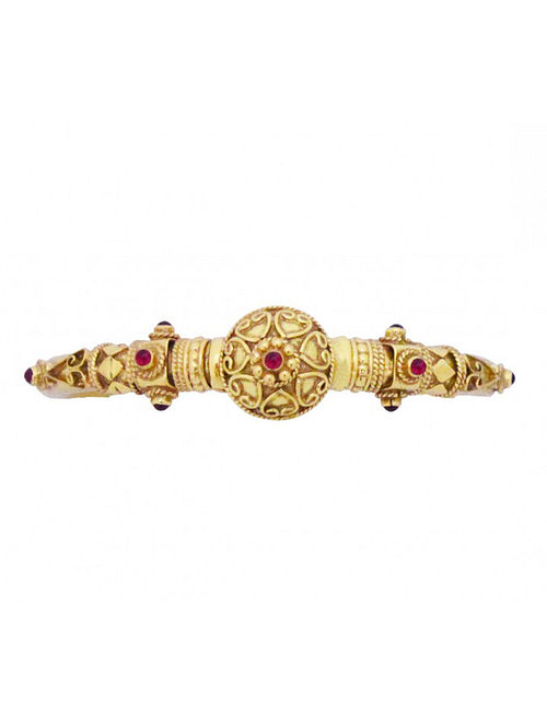 Maroon Gold Plated Temple Silver Bangle (Bangle Size: 2/4)