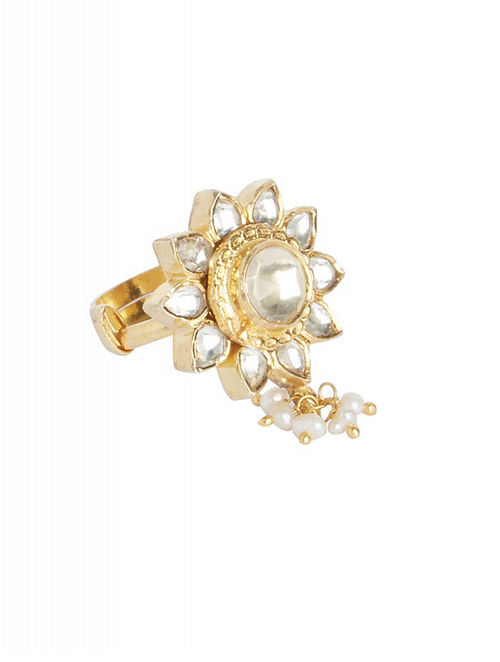 Gold Plated Kundan Sterling Silver Adjustable Ring with Pearls