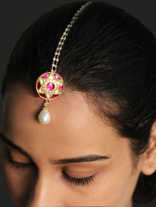 Maroon Gold Plated Sterling Silver Maangtika with Pearls