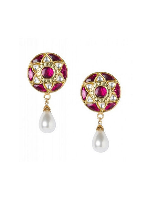 Maroon Gold Plated Kundan Sterling Silver Earrings with Pearls