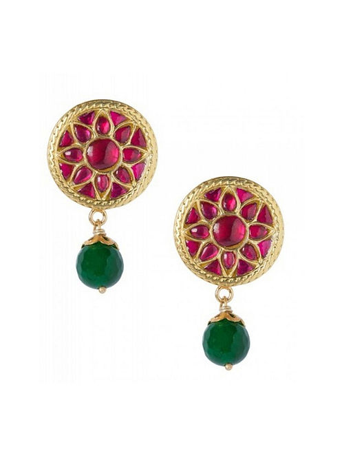 Maroon Green Gold Plated Sterling Silver Earrings