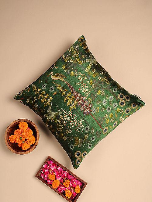 Green Digital Printed Raw Silk Cushion Cover (Length - 16.5in, Width - 16in)