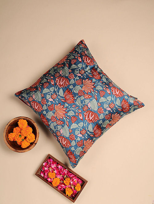 Blue Digital Printed Raw Silk Cushion Cover (Length - 16in, Width - 16in)