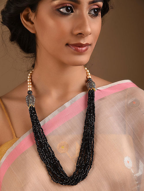 Black Beaded Layered Necklace With Pearls
