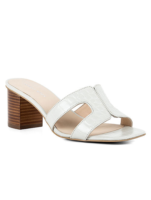White Handcrafted Leather Block Heels