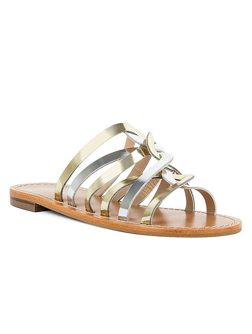 Gold Silver Handcrafted Leather Flats