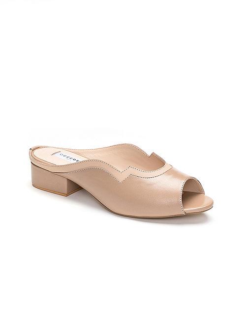 Nude Handcrafted Genuine Leather Block Heels