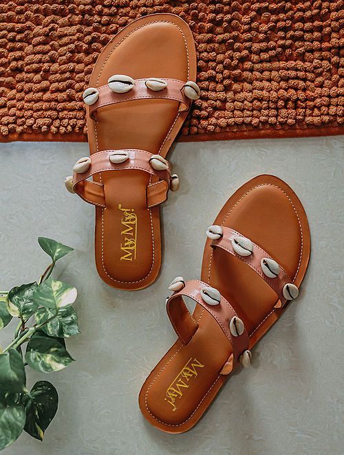 Peach Handcrafted Genuine Leather Flats