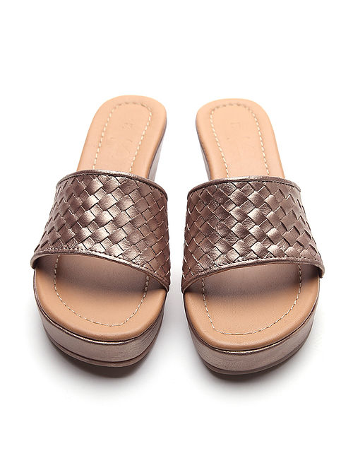 Bronze Handwoven Genuine Leather Wedges