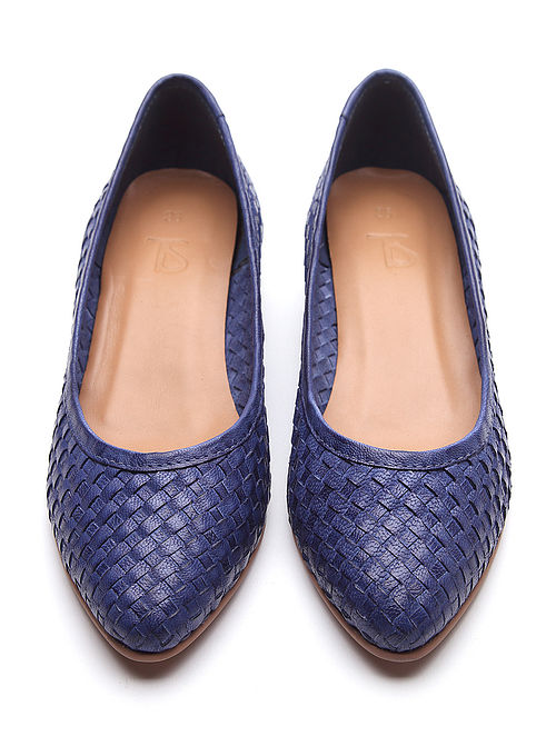 Blue Handwoven Genuine Leather Shoes