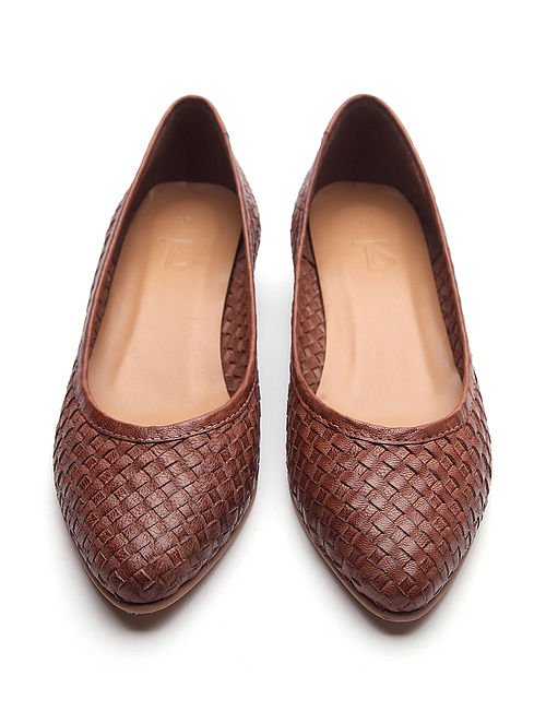 Brown Handwoven Genuine Leather Shoes