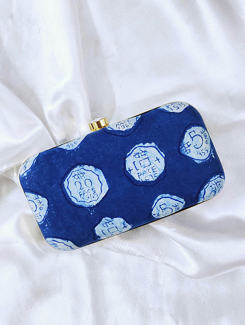 Blue Handcrafted Cotton Clutch