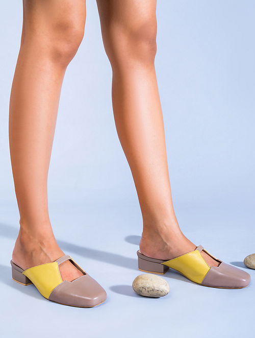 Yellow Nude Genuine Leather Block Heels