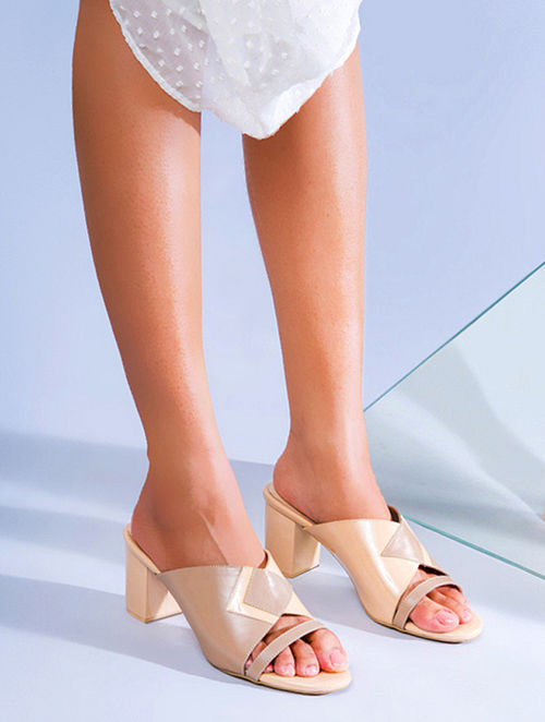 Nude Pink Genuine Leather Block Heels