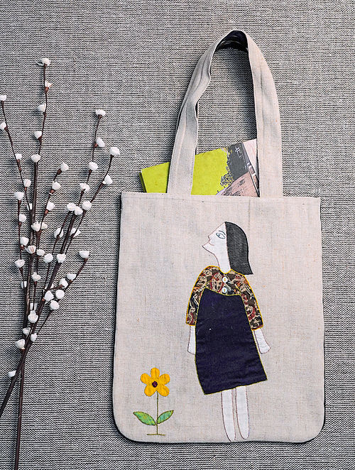 Beige Hand Embroidered Jute Tote Bag