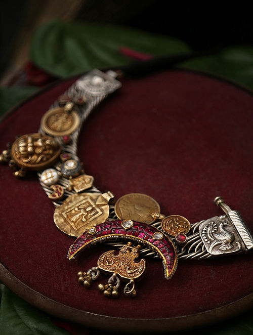 Atyuha-Vintage Silver Necklace with Ruby