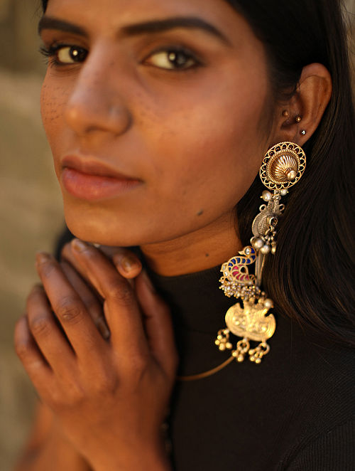 Barha-Vintage Silver Earrings with Ruby and Blue Stones