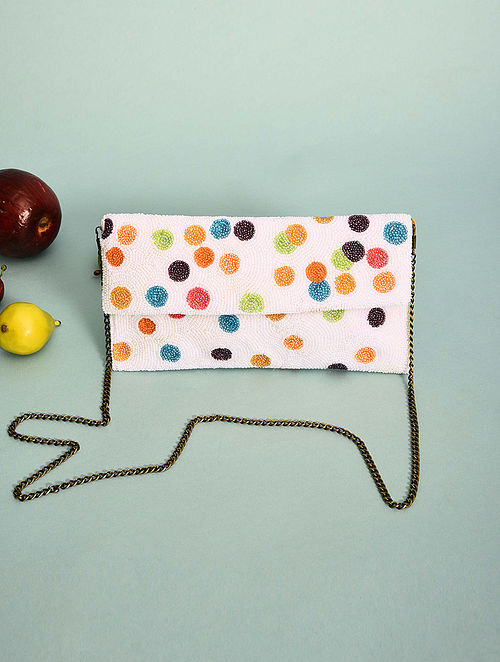 Multicolored Handcrafted Beaded Cotton Clutch