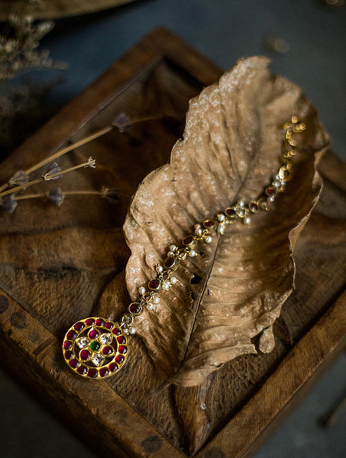 Kempstone Encrusted Gold Plated Temple Silver Maangtika with Pearls