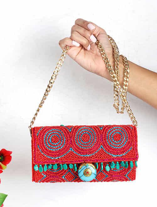 Orange Handcrafted Suede Sling Bag